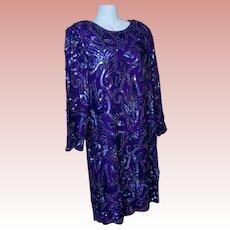 Purple 100% Silk Sequin Dress Cocktail Formal Size XL Handmade India VTG 1980's