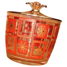 Retro Orange Gold Glass Ice Bucket with Lid Hazel Atlas Barware