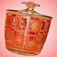 Retro Orange Gold Glass Ice Bucket with Lid Hazel Atlas Barware