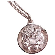 Army Eagle Military Silver Pendant St. Christopher Sterling Necklace Stainless Steel Chain NOS