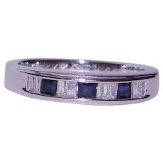 Stack Ring Band Blue Sapphire Diamond Anniversary Wedding Solid 14K White Gold