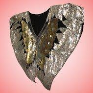 Sequin Butterfly Crop Top Black 100% Silk Beaded Woman Blouse Batwing Handmade Sz Medium/Large India VTG 1980's