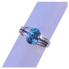 Dynamic Blue Zircon Diamond Ring Solid 14K White Gold