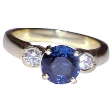 GIA Blue Sapphire Diamond Ring Solid 18K Yellow Gold