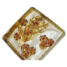 CORO Set Florentine Roses Brooch Earrings Goldtone Suite