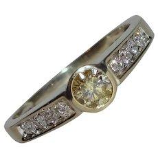 Sunshine Yellow Diamond Euro Bezel Solitaire Ring Solid 14K White Gold