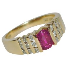 Magic Glo Ruby Diamond Ring Solid 14K White Gold