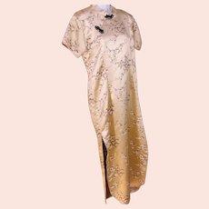 Asian ORIENTAL China Geisha Dress Handmade Vintage Gold Satin Brocade Cherry Blossom