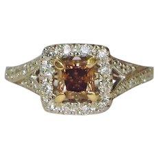 Fancy Princess Chocolate Argyle Diamond Halo Solitaire Ring