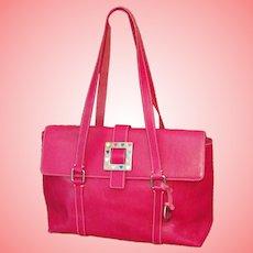 Large Pink Pebble Leather Dooney & Bourke Satchel Handbag Purse RETIRED