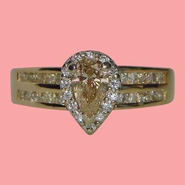 Luscious Peachy Pear Fancy Diamond Halo Ring