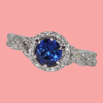Timeless Blue Sapphire Solitaire Diamond Halo Ring