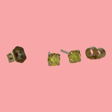 Vivid Canary Yellow Diamond Stud Earrings
