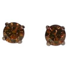 Glowing Amber Brown Diamond Martini Stud Earrings