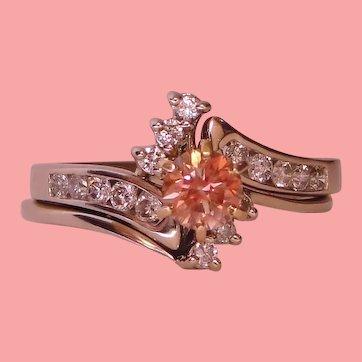 Luminous Pink Diamond Solitaire Ring Wedding Set Juliette