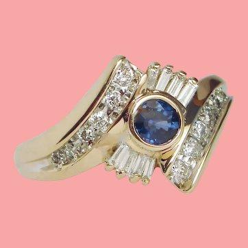 Bezel Blue Sapphire Diamond Cluster Ring