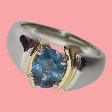 GIA Peacock Blue Sapphire Platinum 18K Solitaire Ring