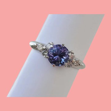 Vivid Violet Tanzanite Solitaire Diamond Ring
