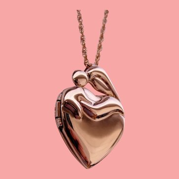 Family Heart Locket Mother and Child Pendant New Old Stock