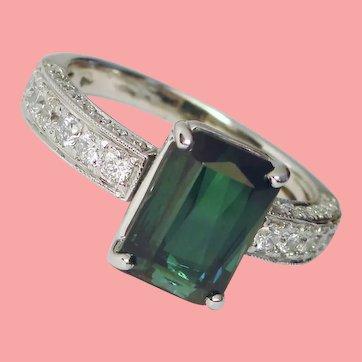 Prismatic Blue Green Tourmaline Diamond Ring 18K