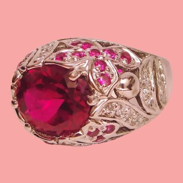 Vintage Butterfly Beaded Floral Bombe Ring Syn Red Spinel 925 Sterling Silver