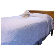 WHITE Mid Century Bedspread Queen Victoria 100% COTTON Woven Blanket MATELASSE Traditional USA