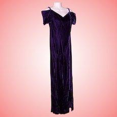 Long Maxi Dress Formal Gown Size 10 Royal Purple Velvet VTG 1980's USA made