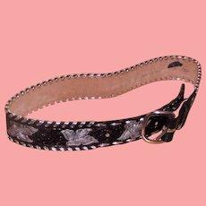 Belt Black Leather Western Rockabilly Style Unisex Size 30 Hand Tooled USA