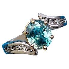 Blue Zircon Diamond 14K White Gold Solitaire Statement Ring Custom Upcycle Design