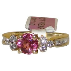 Estate Vintage Pink Sapphire Diamond Ring Solid 14K Yellow Gold Upcycled Custom Design