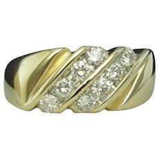 Diamond Ring Gent's Band Solid 14K Yellow Gold Wedding Anniversary Magic Glo Vintage Estate