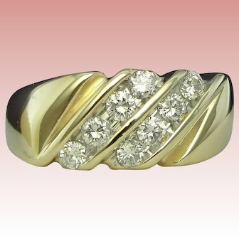 Diamond Ring Gent's Band Solid 14K Yellow Gold Wedding Anniversary Magic Glo Vintage Estate