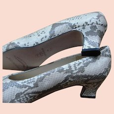 EVAN-PICONE Snakeskin Leather Pumps Heels Shoes Sz 7M 1970's Era Vintage NOS