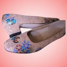 Hand Painted Cork Heels Pumps Shoes Butterfly Flowers Sz 10N The Tog Shop Metallic Leaf