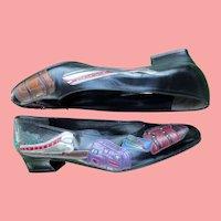 Leather Travel Theme Flat Skimmer Shoes Margaret Jerrold Handmade SPAIN