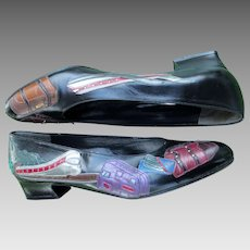 Leather Travel Theme Flat Skimmer Shoes Margaret Jerrold Handmade SPAIN