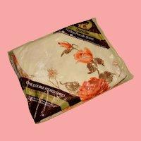 NOS Dan River Double/Full Size Fitted Bottom Sheet Burnt Orange Brown Floral Vintage Linens USA