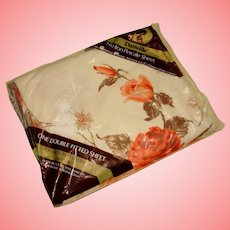 NOS Dan River Double/Full Size Fitted Bottom Sheet Burnt Orange Brown Floral Vintage Linens USA