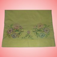 Yellow Hand Embroidered Pillow Case Morning Glory Floral Single Vintage Americana
