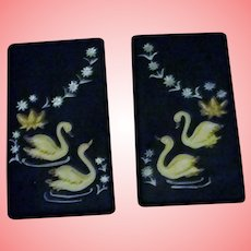 Black Swan Wall Plaque Set NAPCO  Mid Century Modern Japan