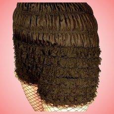 Ruched Ruffled PETTIPANTS Black VTG 100% Nylon Lace Size LARGE