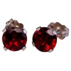 Classic Red Garnet Stud Earrings Solid 10K White Gold