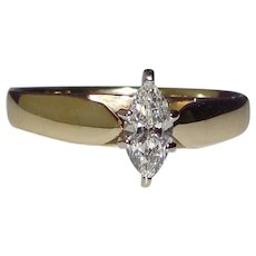 Engagement Solitaire Ring Genuine Diamond Solid 14K Yellow Gold