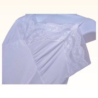 STENSWEAR 1950 Plus Sz 44 White Nylon Lace Full Slip 1950's Era