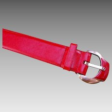 Wide Red Leather Belt Brass Bold Buckle Liz Claiborne