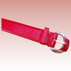 Wide Red Leather Belt Brass Bold Buckle Liz Claiborne