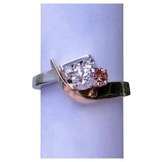 Solitaire Twin Stone Fancy Pink Diamond RING 14K White Yellow Gold Toi et Moi Custom Design