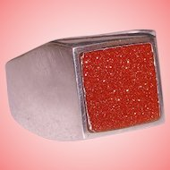 Red Galaxy Goldstone RING 925 Sterling Silver Comfort Fit HEAVY Solid