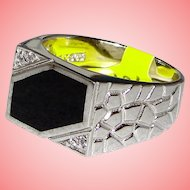 Gator Skin RING 925 Sterling Silver Abstract Black Onyx
