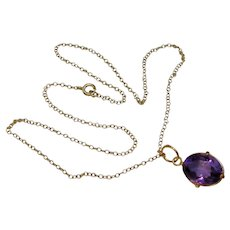 Oval Amethyst Gem Pendant Necklace Yellow Gold Filled Choker Chain